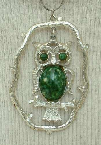 Large green art glass owl pendant necklace unusual frame bird large green art glass owl pendant necklace unusual frame bird jewelry aloadofball Images