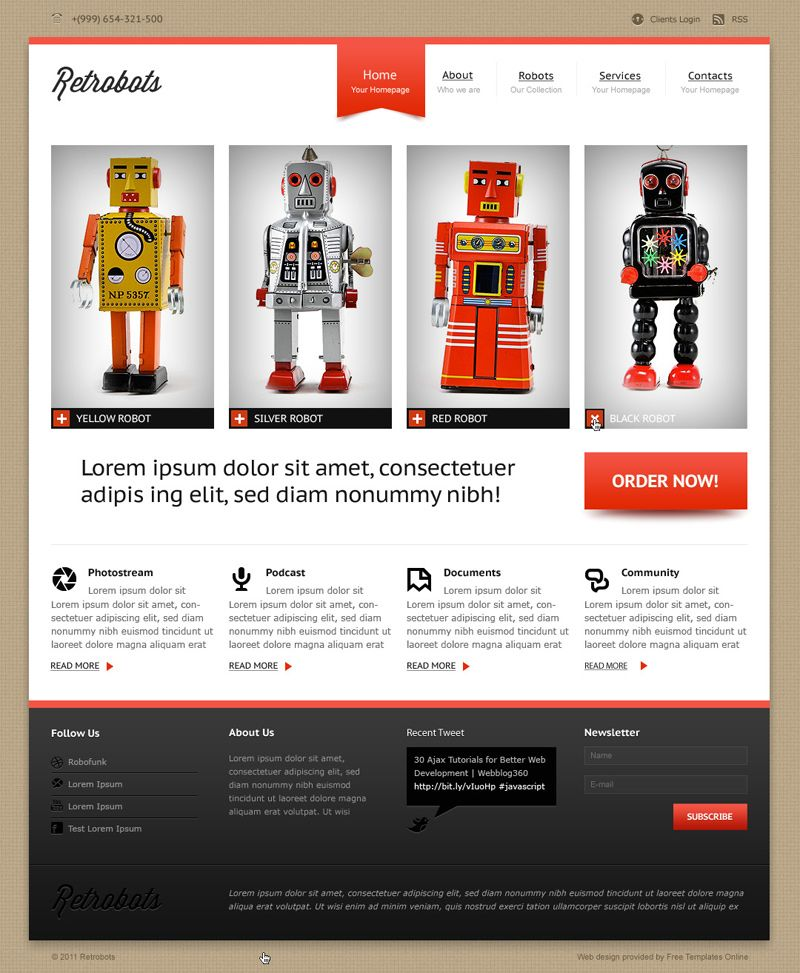 Free Product Showcase Website Homepage Template Download