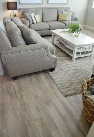 Light Wooden Vinyl Flooring Plank Greige Living Room Living Room Decor Inspiration Living Room Flooring