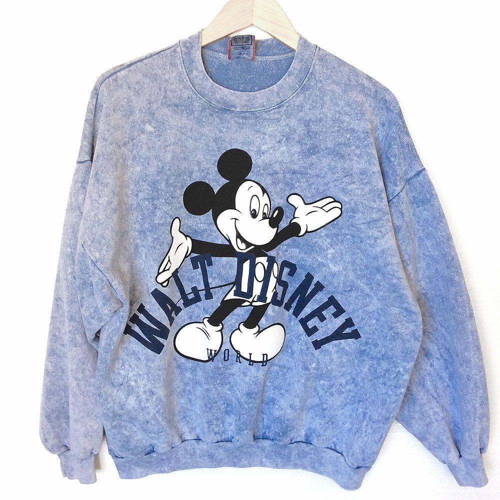 Vintage Mickey Mouse Walt Disney Cartoon Movie Sweatshirt Sweater Hoodie T-Shirt Large y1ZN5A