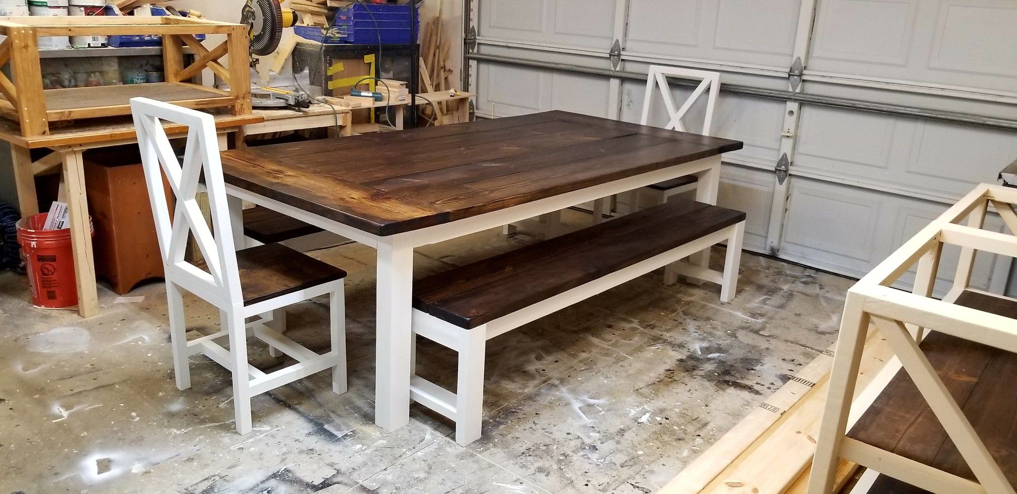 8x4 farmhouse table with benches and chairs farmhouse