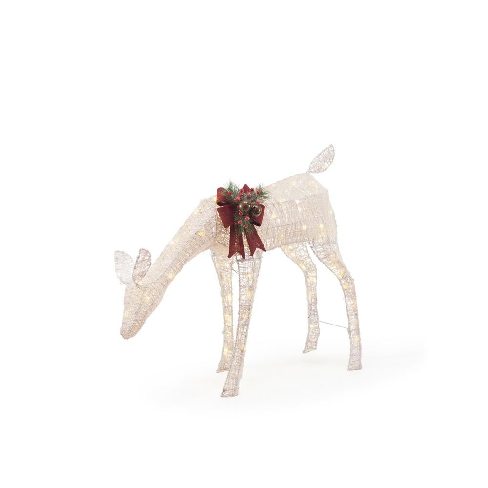 Home Accents Holiday 33 in. LED Lighted White PVC Grazing Doe ...