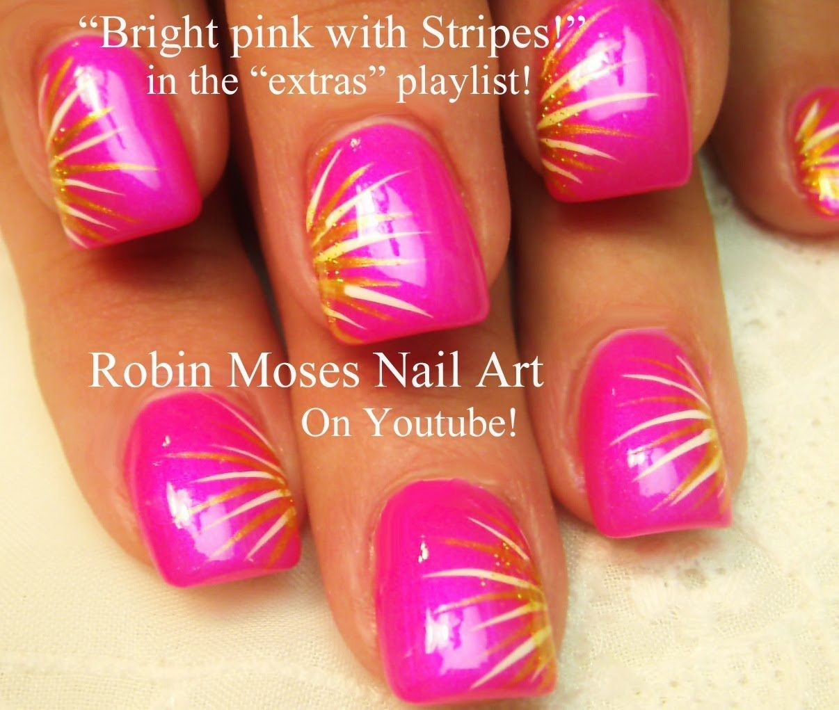 easy nail art for beginners!!! | diy neon pink stripes design