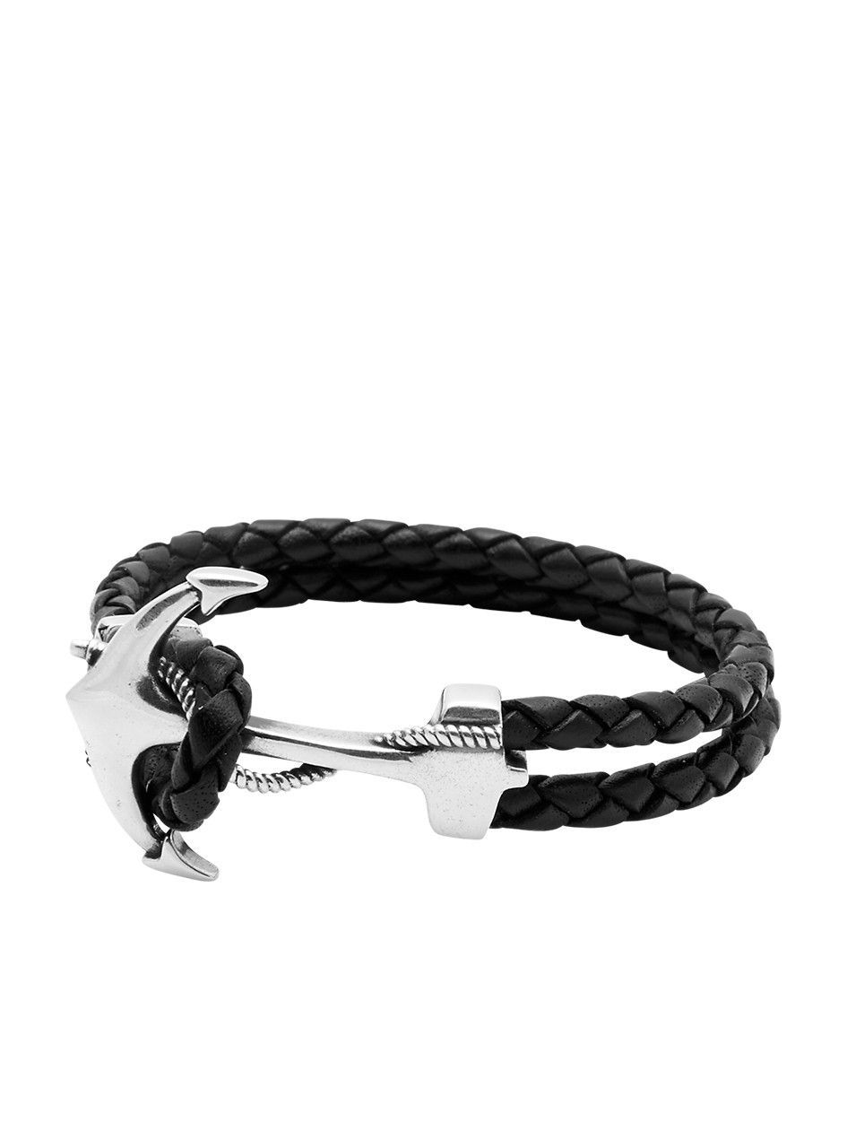 Nialaya Black Leather Bracelet with Silver Anchor - Extra Large IbQgOmDs