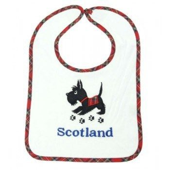 Scottie Dog terry cloth bib . . Sold by TartanPlusTweed.com A family owned kilt and gift shop in the Scottish Borders