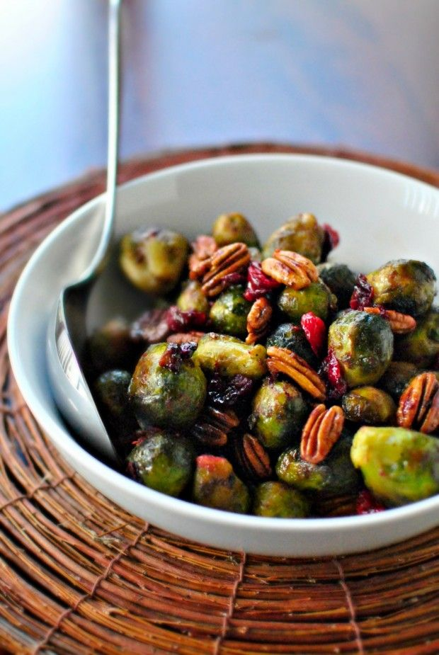 Whole Roasted Brussels Sprouts with Cranberries and Pecans  www.SimplyScratch.com