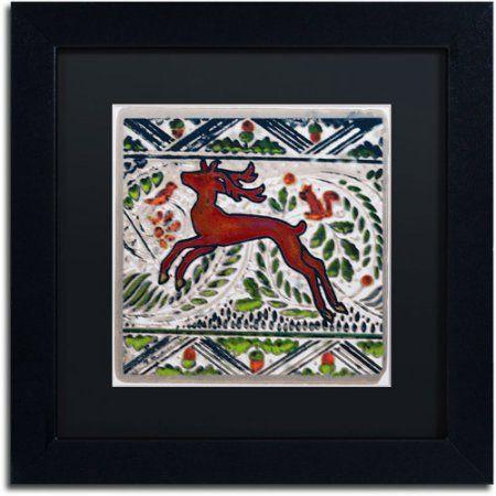 Trademark Fine Art Vintage Christmas Deer Canvas Art by Patty Tuggle, Black Matte, Black Frame, Size: 11 x 11