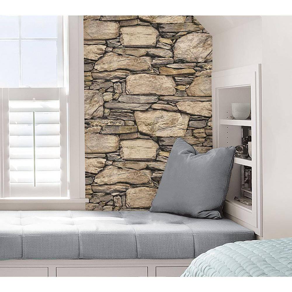 Nuwallpaper Hadrian Stone Wall Peel And Stick Vinyl Strippable Wallpaper Covers 30 75 Sq Ft Nu2065 The Home Depot In 2021 Nuwallpaper Stone Wall Stone Wall Design