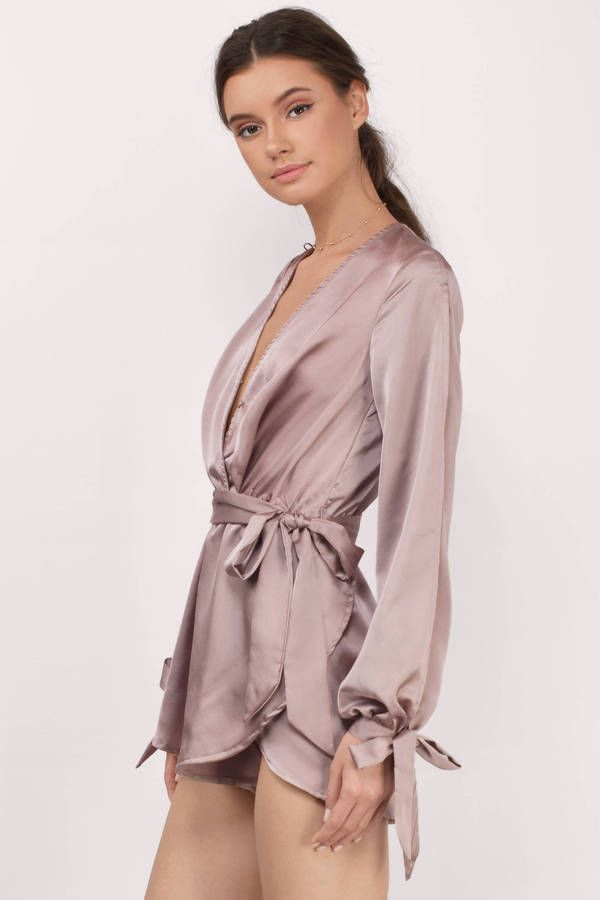 New Arrivals, Tobi, Taupe All Eyes On Me Satin Wrap Romper
