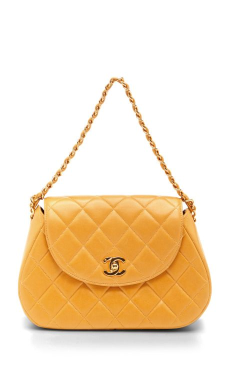 8d97f0043045 Chanel Yellow Quilted Round Flap Bag | Bag//Clutch | Vintage chanel ...