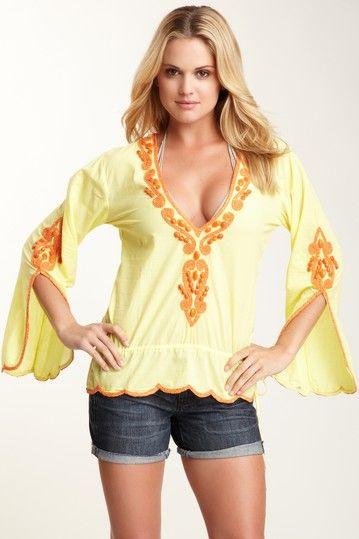 Monique Leshman - Yellow Hippie Beach Short Tunic