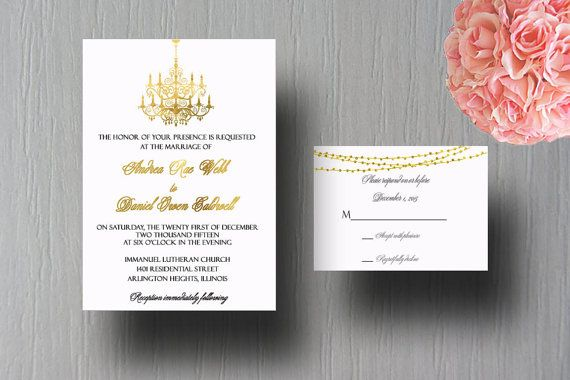 Gold Chandelier Wedding Invitation