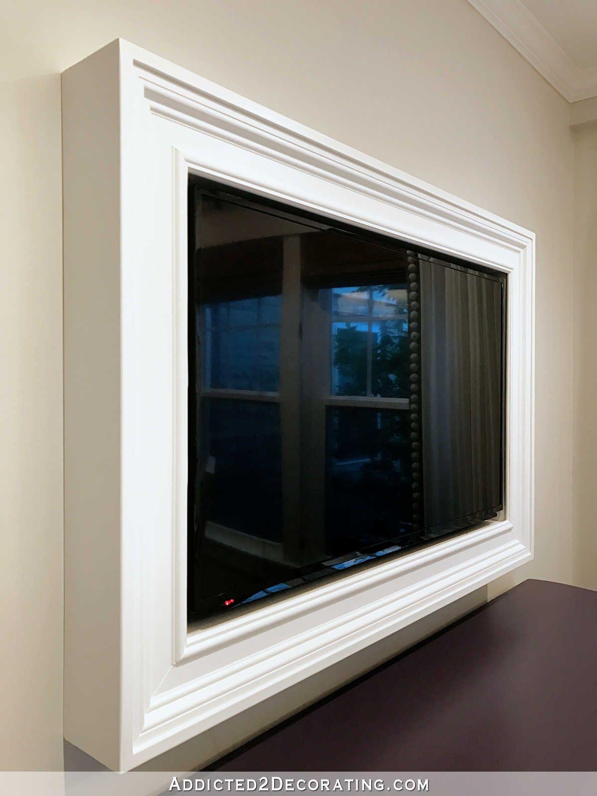 Custom diy frame for wallmounted tv finished decor