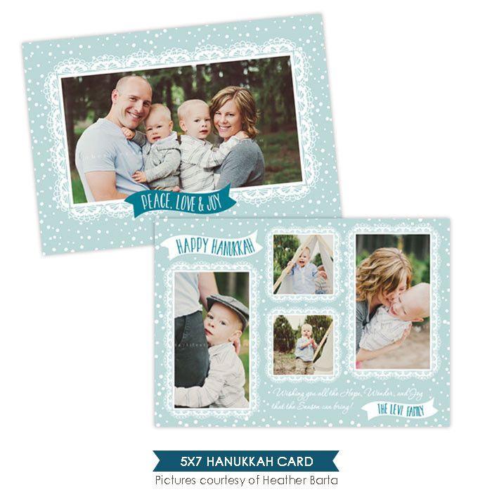 Hanukkah Photocard Template   Blue Hanukkah - e957