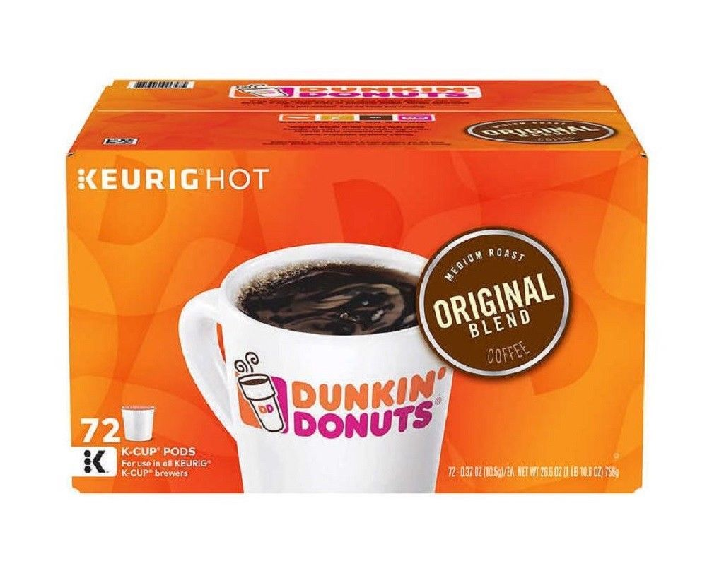 Dunkin Donuts Original Blend Coffee Pods 72 K Cups Medium Roast