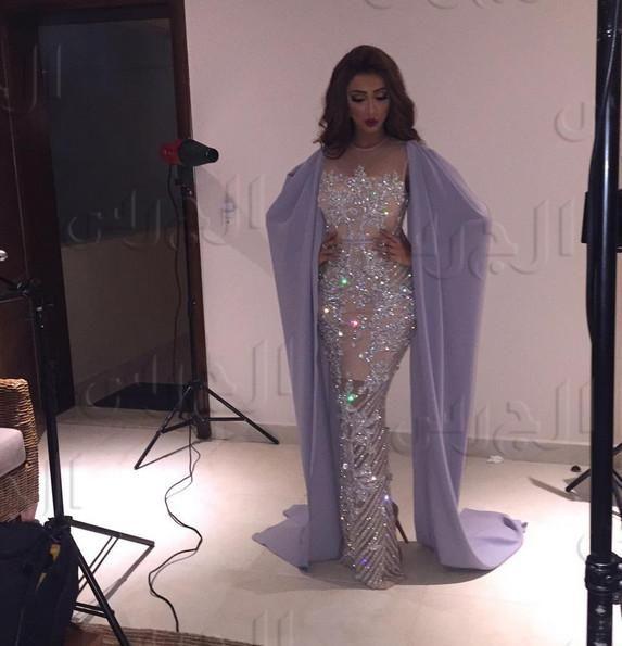 2017 Evening Dress Yousef Aljasmi Cape Sweetheart Mermaid