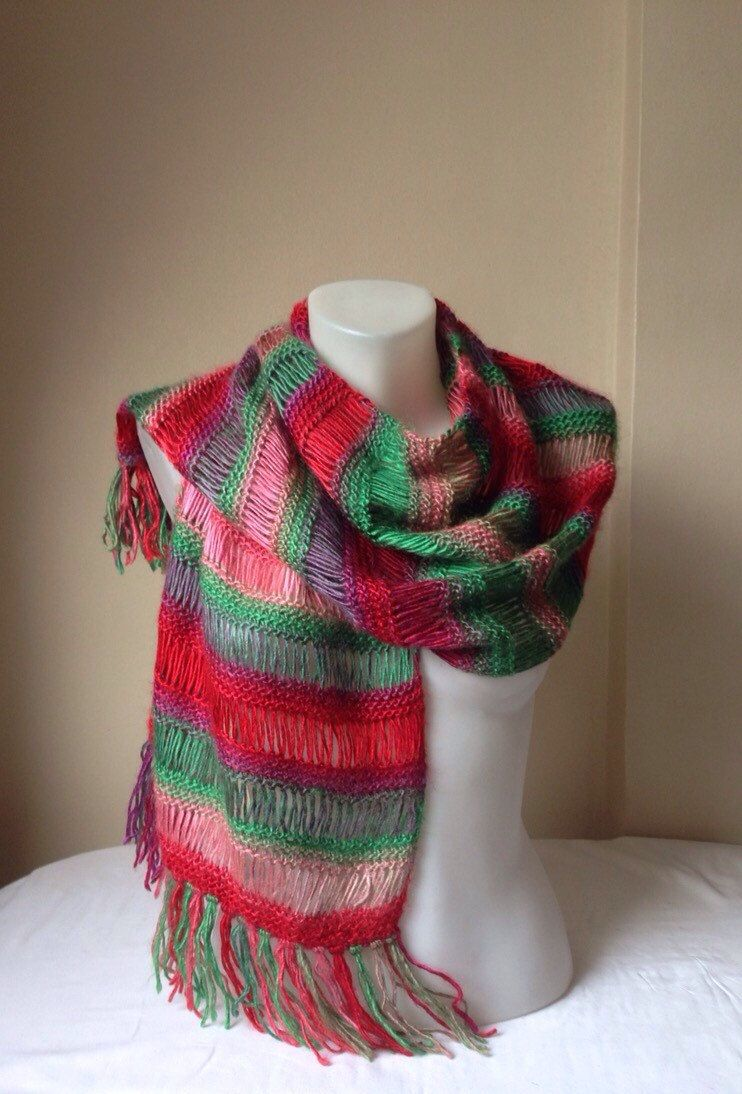 Photo of Knitted Scarf, Scarf, Red and Green scarf, Day Gifts, Winter time gifts