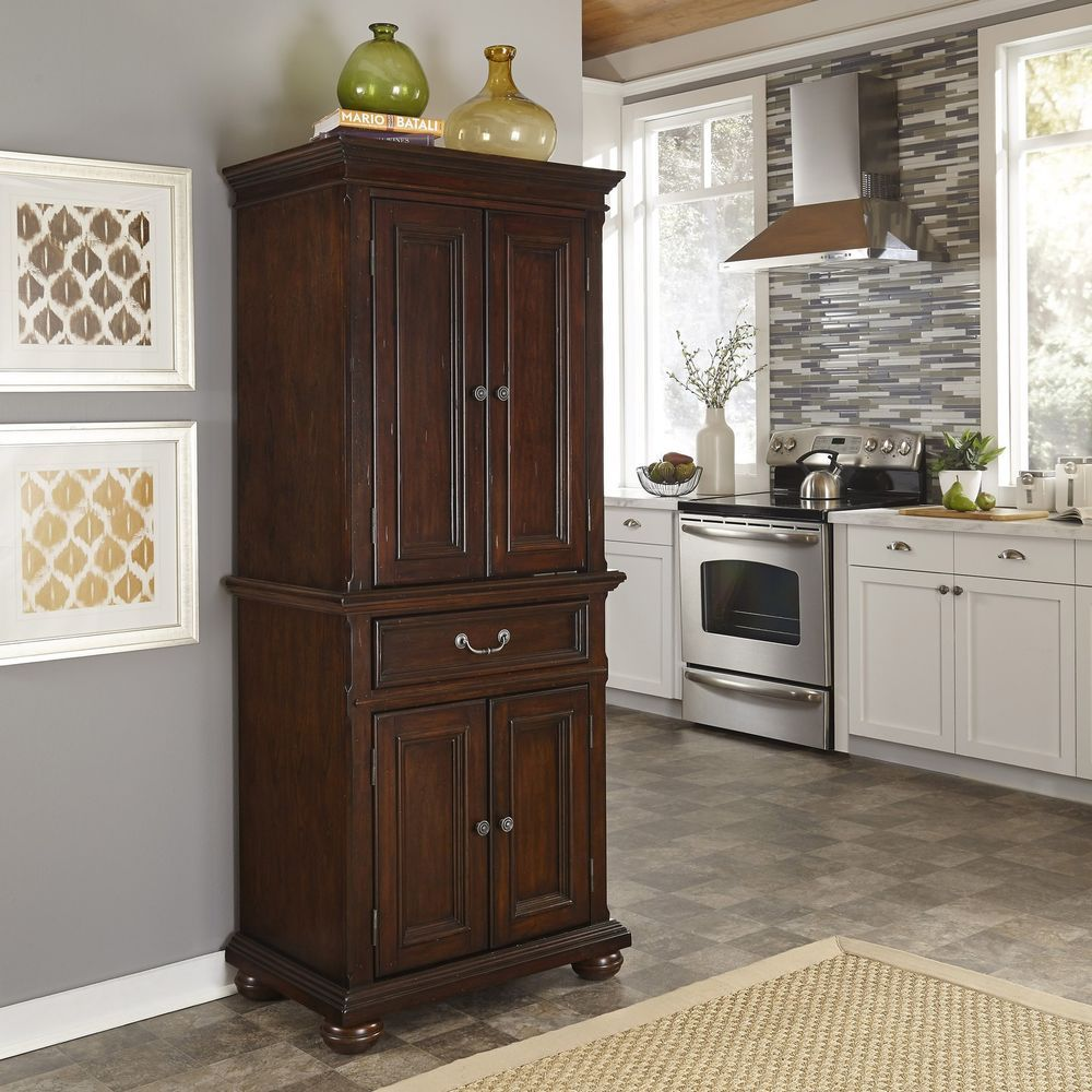 Colonial Classic Distressed Dark Cherry Pantry Cupboard Free Standing Cabinets Homestyles Colonialcontempo Classic Kitchens Kitchen Remodel Cost Home Styles