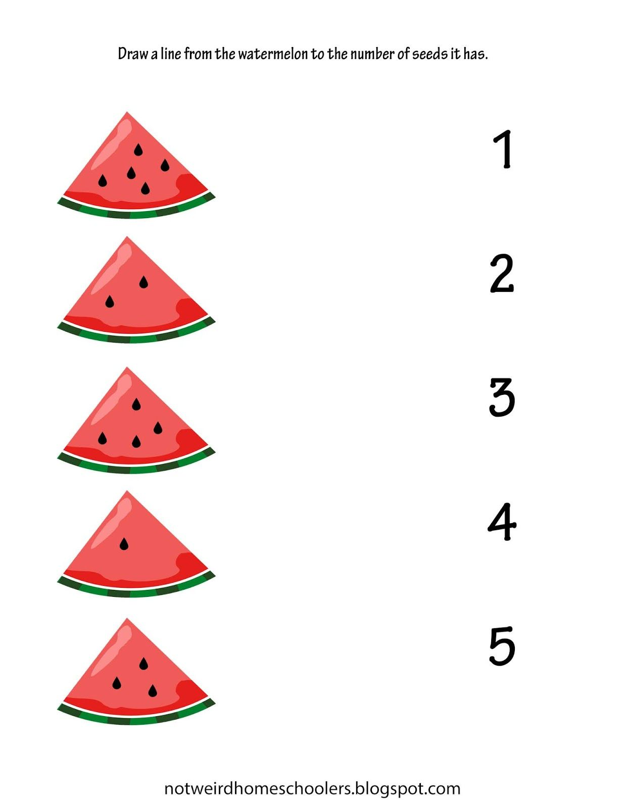 Free Homeschooling Resource Watermelon Themed Counting