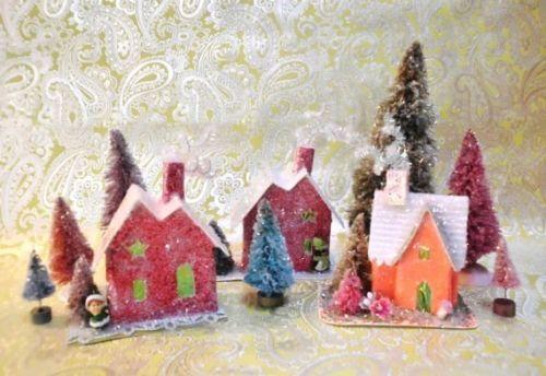 Vintage-Natal-Putz-Casa-Com-Papai-Noel-farois-feito-a-mao-Village-House