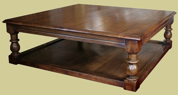 Large square oak potboard coffee table with chunky baluster turned