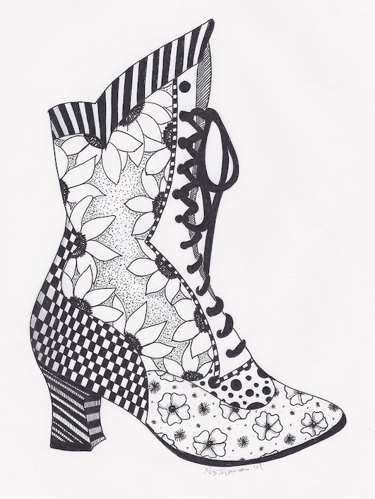 Zentangle Victorian Boot steampunk  Oodles of Doodles and More