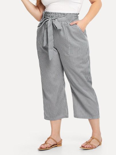 76c91c5f29e03 Shop Self Tie Waist Striped Pants online. SheIn offers Self Tie Waist Striped  Pants & more to fit your fashionable needs.