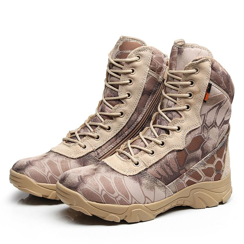 13bb250e793 Camouflage Men Tactical Boots Military Desert Combat Boots Outdoor  Waterproof Army Boots Desert Safty Work Shoes Combat Ankle