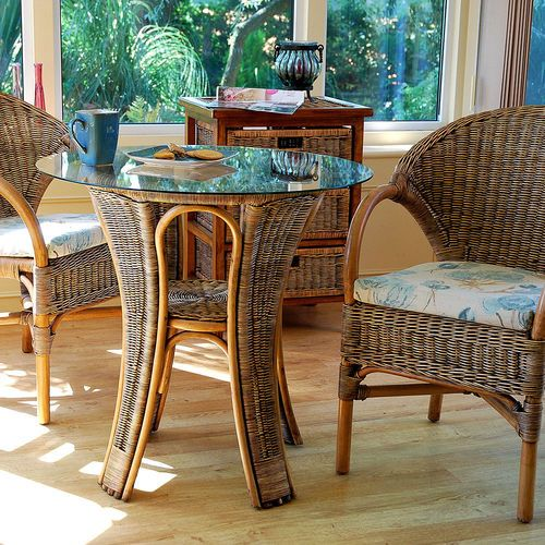 This Small Cane Round Breakfast Table And Chairs Set Has Been Designed For Rooms Where Space