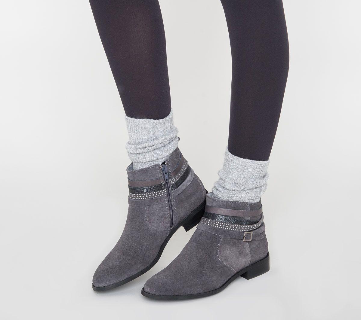 e65e3744561 Boots mutlibrides croûte de cuir gris