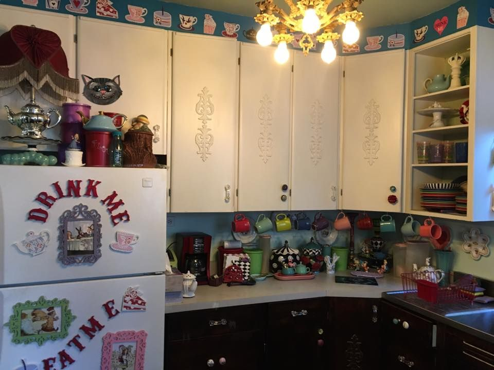 I Painted The Wallpaper In My Alice In Wonderland Kitchen Making A Checkerboard And Using Wonderland Themed Kitchen Decor Trends Trending Decor Kitchen Decor