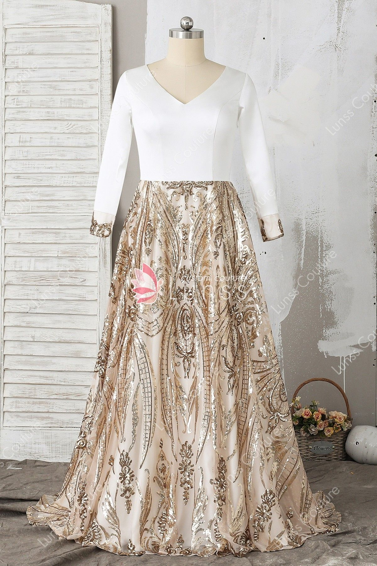 Sparkling white gold twotone long sleeve vneck floorlength aline