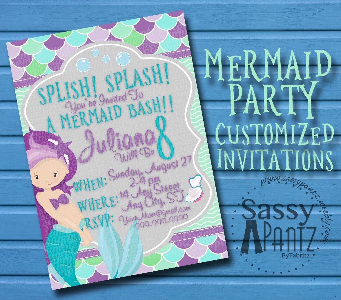 Mermaid invitation from my Etsy shop httpswwwetsycomlisting