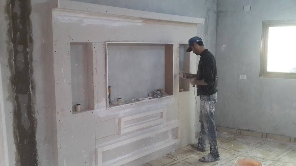 Handmade Gypsum Board Tv Units Before And After Tv Unit