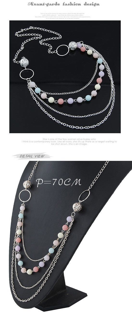 Flip Silver Color Candy Color Beads Decorated Simple Design Alloy Korean Necklaces ,Korean Necklaces  http://www.asujewelry.com
