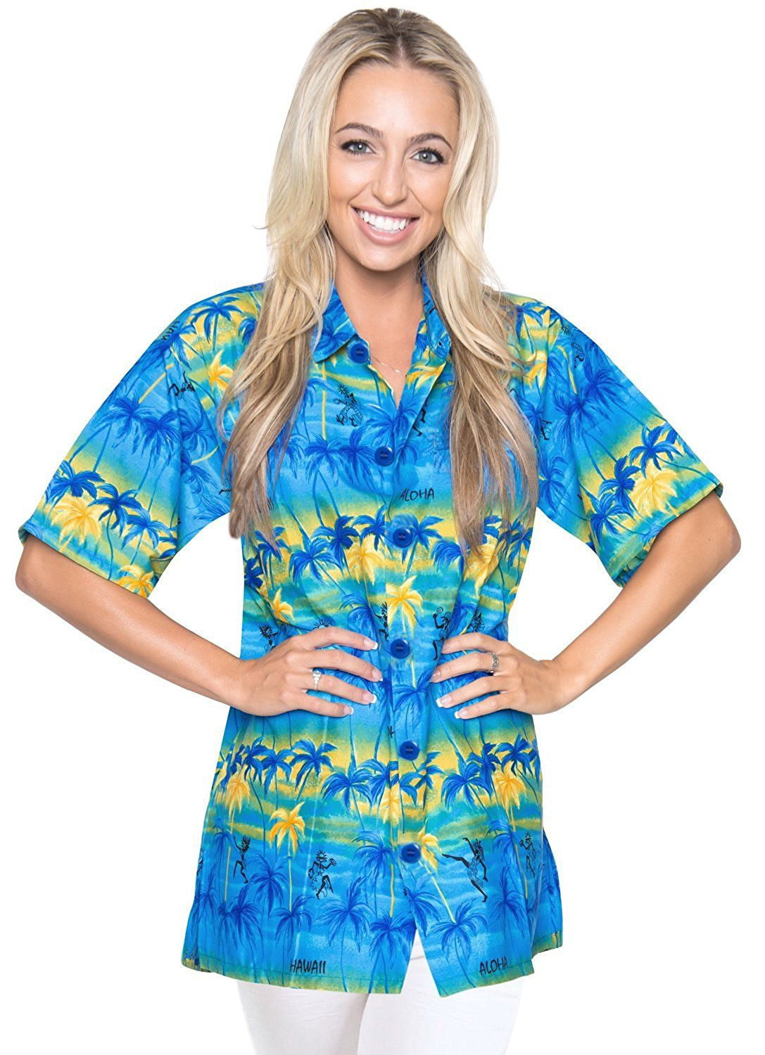 Luau Party Button Down Shirt Womens Top Blouse Cover up Hawaiian ...