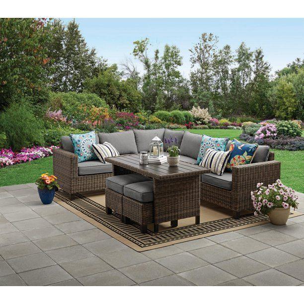 Better Homes & Gardens Brookbury 5-Piece Patio Wicker Sectional Set with Tan Cushions - Walmart.com