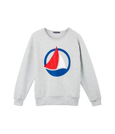 grande vente 57d57 e8958 Women's brushed sweatshirt with silkscreen print Beluga grey ...
