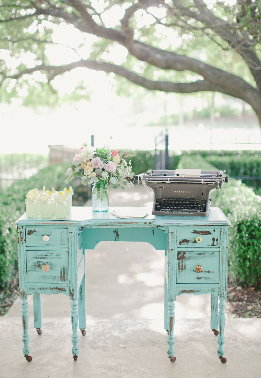 Garden Wedding | Vintage Typewriter | Vintage Furniture Rentals | Southern Social Events + Experiences | Sweet Sunday Events | Caroline Joy Photography | The Ranch House at Teravista
