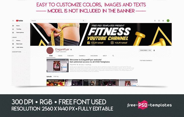 FREE FITNESS YOUTUBE CHANNEL BANNER Psd template free