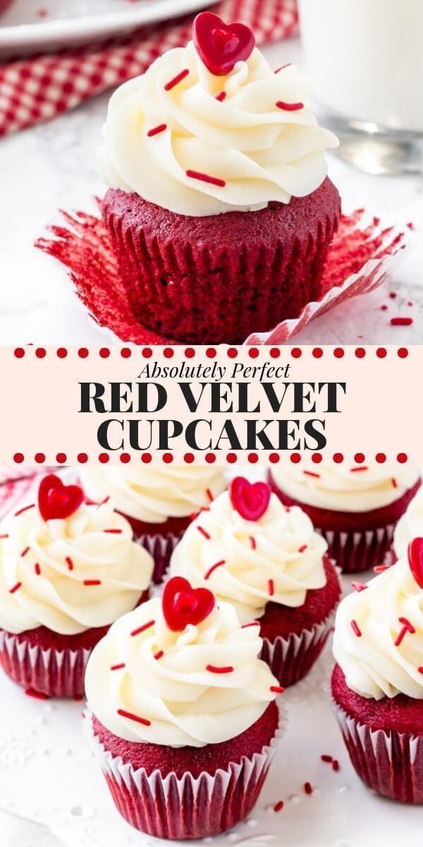 PERFEKTE Cupcakes aus rotem Samt haben eine weiche Krume, eine feuchte Textur, einen Hauch vo...