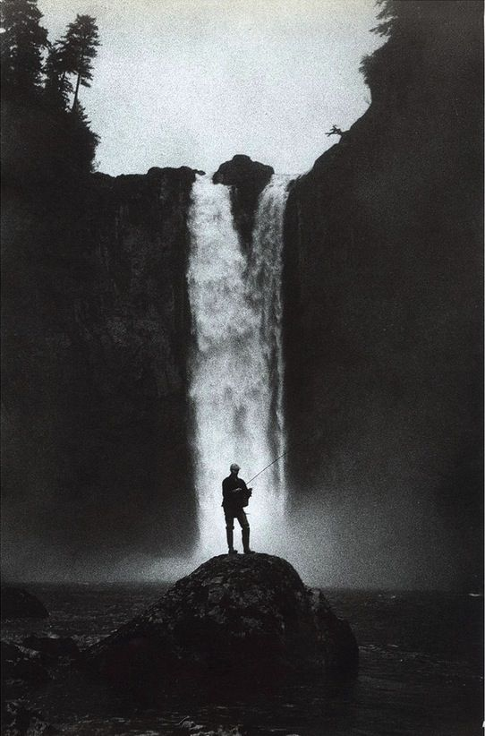 fishing - waterfall - black and white - peace