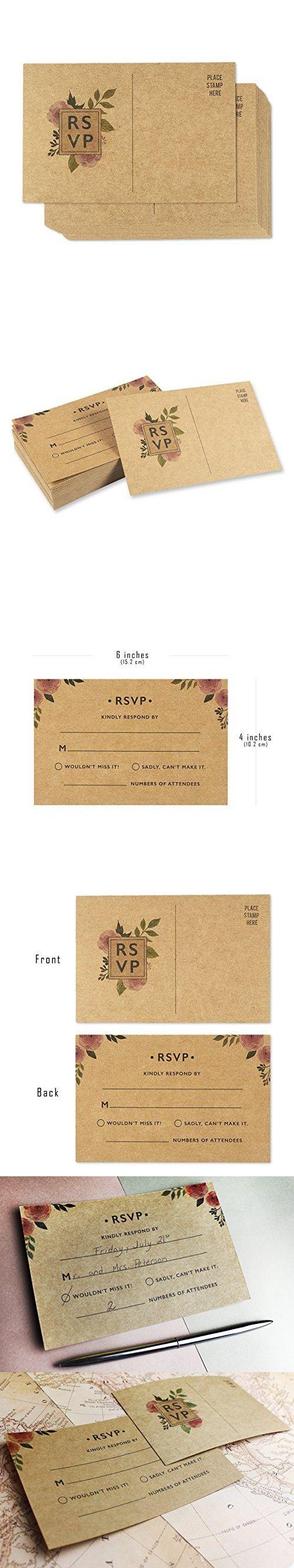 50 pack rsvp postcards kraft blank response card wedding return