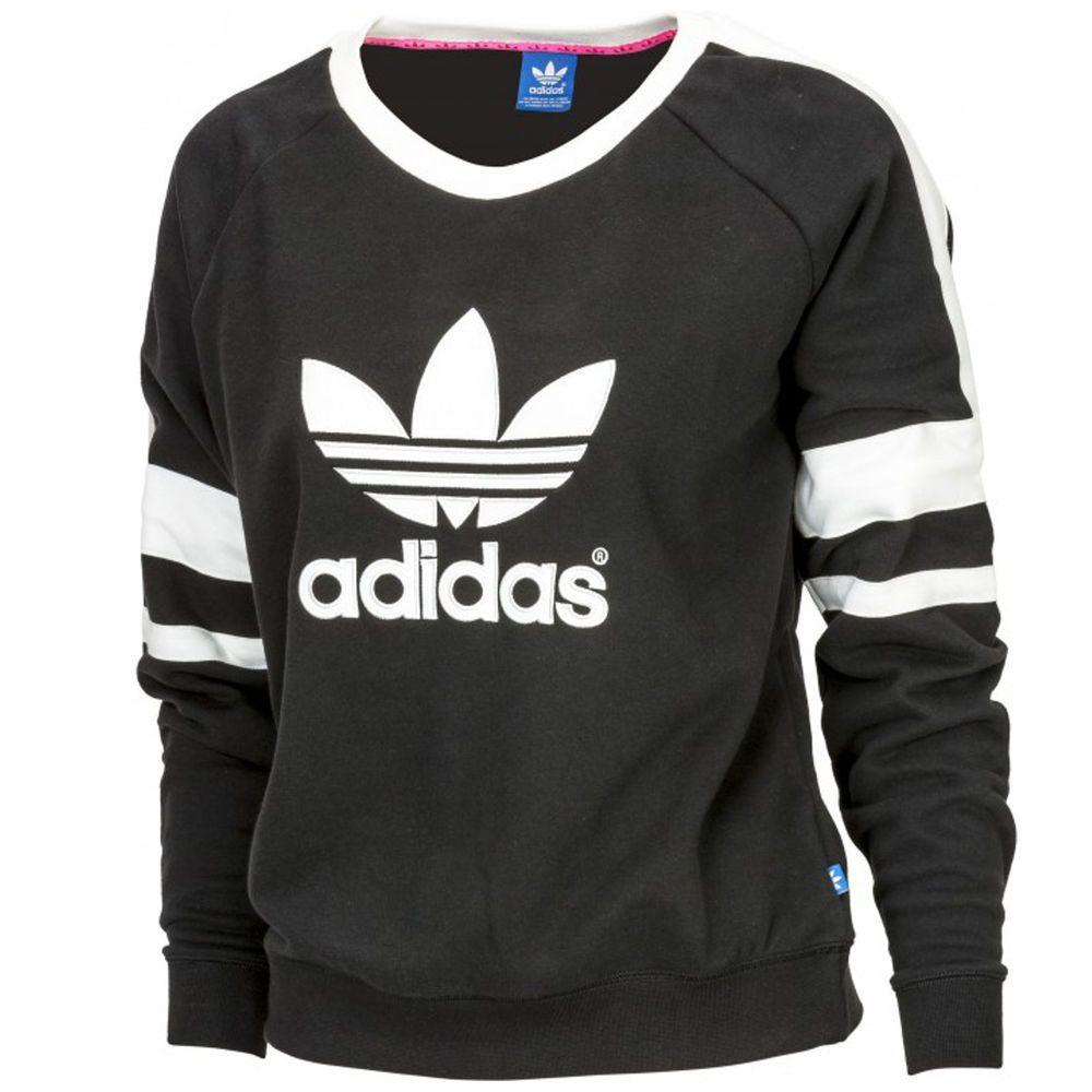 Womens Adidas Originals Trefoil Sweatshirt Black White Jumper Top Sz 10 12  14 16