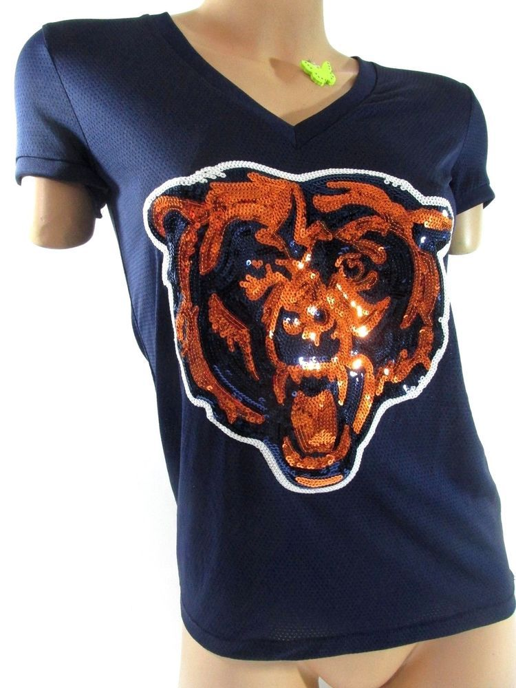 abd38c59 XSMALL VICTORIA'S SECRET PINK CHICAGO BEARS SEQUIN FOOTBALL JERSEY ...