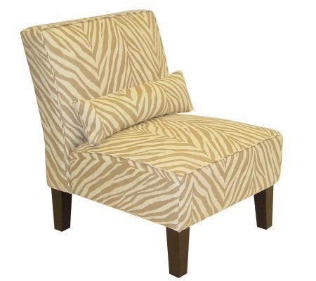 Armless Sudan Camel Upholstered Slipper Chair QVC Zebra ChairLiving Room