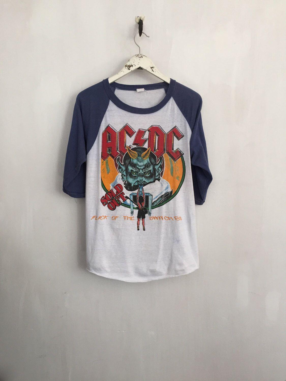 d355b1ca2 ACDC shirt 1983 vintage t shirt band t-shirts raglan tee rock tshirt 80s  band