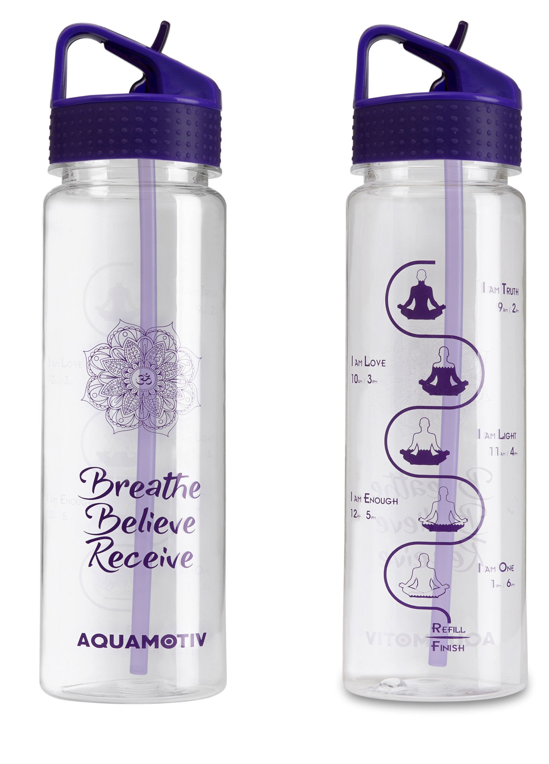 cd3937cb4d 30 oz Angle Flip-n-Flow Straw Inspirational Quote Water Bottle with  Motivational Time Tracker | BPA-Free Fitness Sports Bottles (Purple)