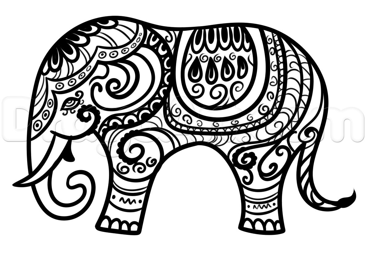 hindu elephant drawing lesson step