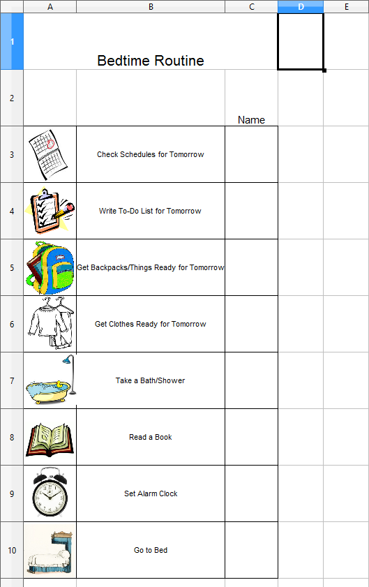 bedtime routine visual chart bujo bullet journal pinterest